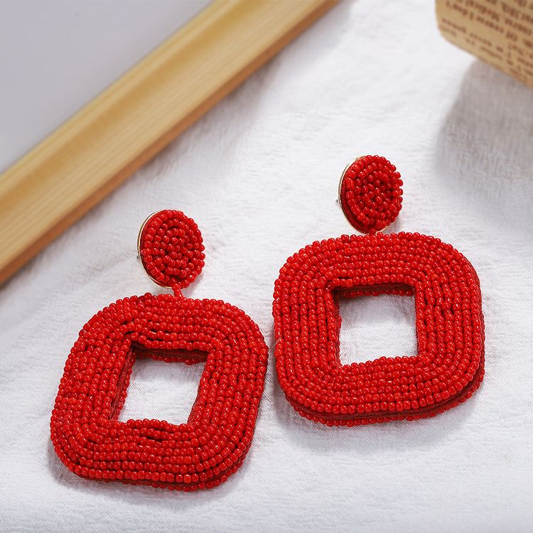 2019 Fashion Jewelry Handmade Red Resin Seed Bead Square Hoop Dangle For Women