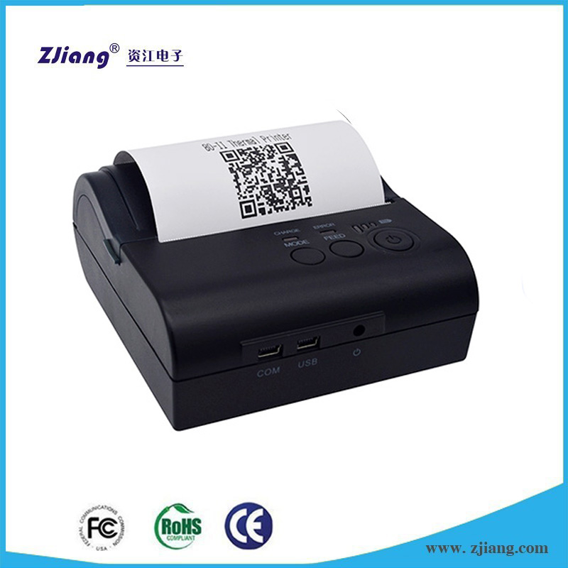 Wireless restaurant ordering machine printing bluetooth mini thermal printer with rs232 to usb driver ZJ-8001