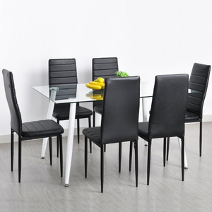 Hot european style luxury dining room furniture square glass dinning kitchen table 6 leather chairs set
