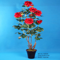 Big size spring artificial red rose tree with pot