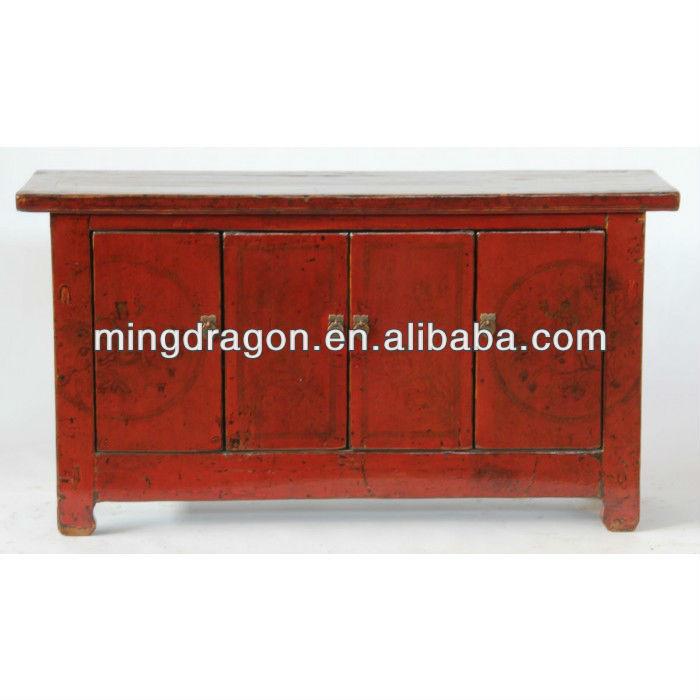 Aparador Pequeno Com Espelho ~ Chin u00eas antigo armário aparador vermelho brilhante Outros móveis de estilo antigo ID do produto
