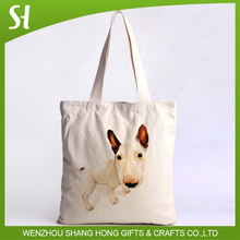 ECO NATURAL CANVAS COTTON SHOPPER SHOULDER TOTE BAGS WITH CUTE PET DOG