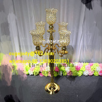 crystal candalabra wedding decoration/gold metal candelabra wholesale