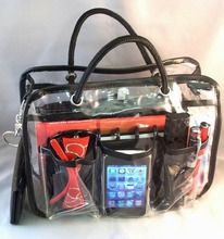 Clear PVC Handbag Purse Cosmetic Make Up Tote Travel Organizer bag