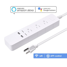 WiFi Smart Power Strip Voice Control with Amazon Alexa Echo Remote Control Each Socket with 3 Plug Outlets 2 USB Ports Timer