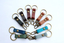 wholesale solid color handmade blank leather key chain key ring fob