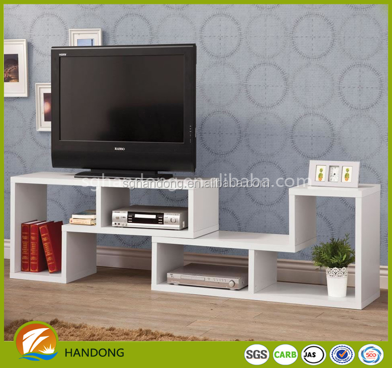 Latest lcd white color glossy closed tv cabinet design for sale