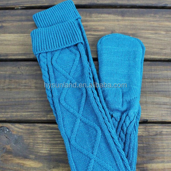 W-485 fashion patterned customized over the knee cable knit socks for women leg warmers