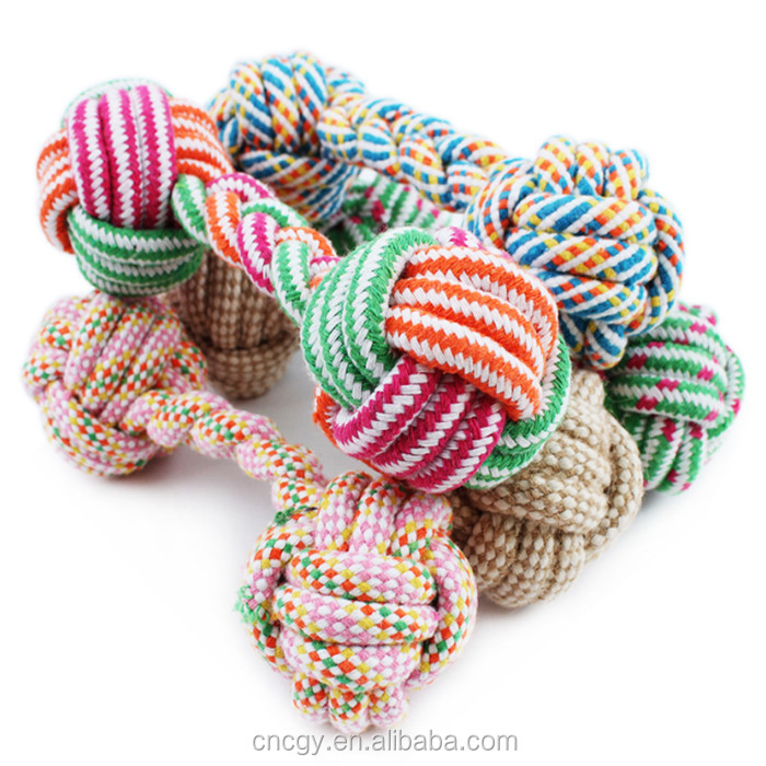 New candy color cotton rope dumbbell pet toys pet products Latex Dog Toy