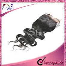 Skin color lace top closure unprocessed Natural Color Malaysia virgin human hair Body Wave Lace top closure