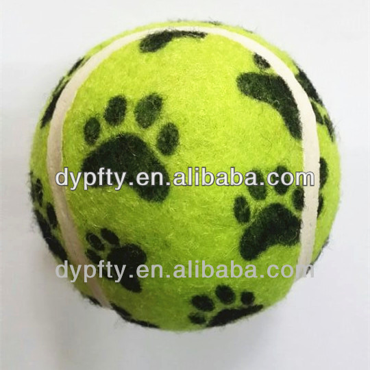 promotional rubber pet tennis balls with paw printed