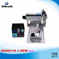 6040V+H 1.5KW 4axis CNC engraving machine with VFD limit and 1.5KW VFD water cooling spindle for wood metal stone cutting