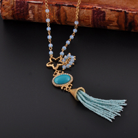 Custom Bead Pendant Tassel Design Long Women Necklace