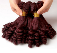 Cheap burgundy curly hair weaving Peruvian curly weave hair red color human hair weaving