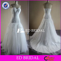NS576 2014 New Fashion Modified A Line Lace Appliqued Real Sample Wedding Dress Picture