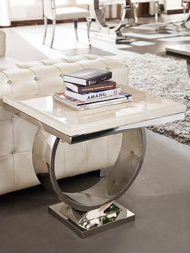 2017 Latess model Elegant marble top stainless steel home goods coffee table