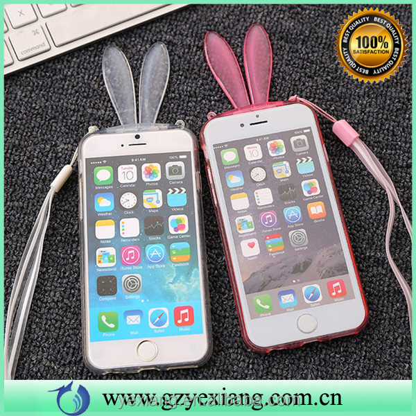 Low price China mobile phone case bunny rabbit ears tpu protective border cover for iphone 4 back case cover