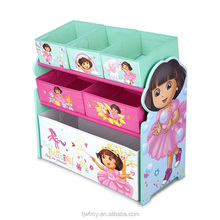 Wholesale Assembled The Explorer Design Wooden Rack Storage Box Collapsible Container Non-woven Fabric Storage Shelf