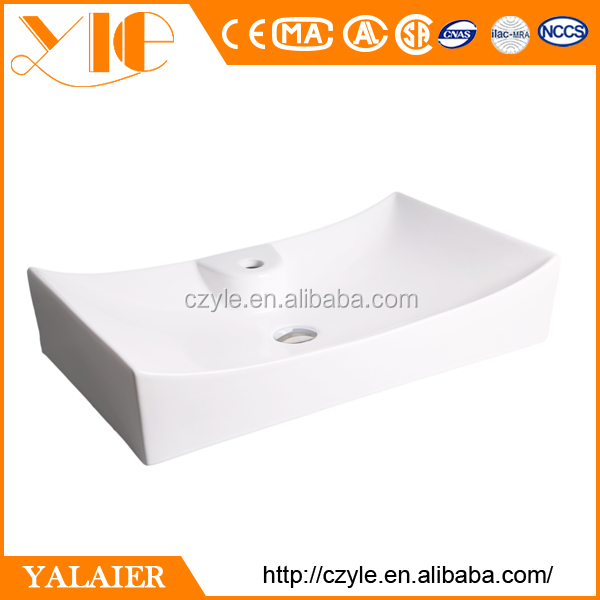 Hot sell square 660*390*135 white ceramic small bar sink