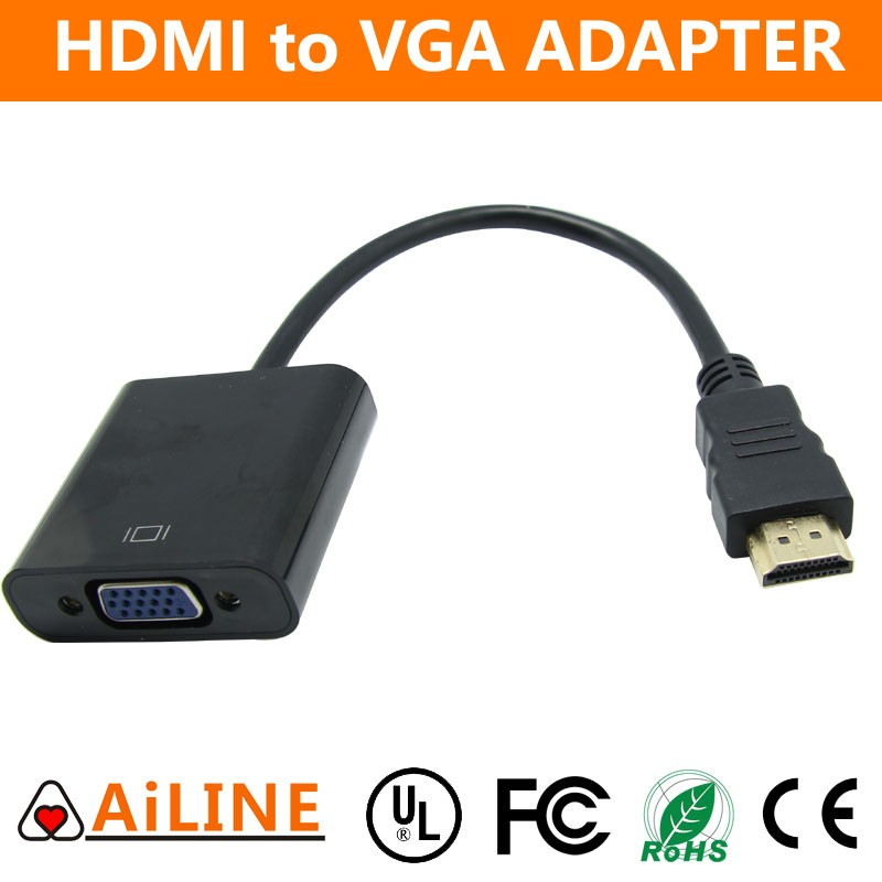 AiLINE 1080P 3D Gold Plated DB15 VGA to HDMI Cable