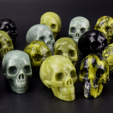 "Wholesale 2"" mixed stone skull carving, natural hand carved stone skull for decor"