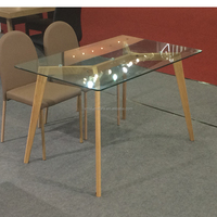 wood + tempered glass top Material and Panel Wood dining table