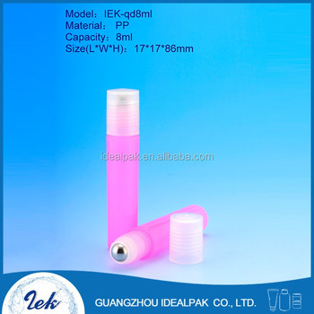 Roll on bottles wholesale pink cosmetic plastic PP perfume 8ml roll on bottle