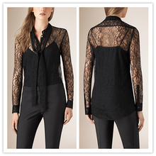 Guangzhou Ladies Clothing Supplier Long Neck Tie Fashion Italian Sexy Models Blouse with Lace Black NT6594