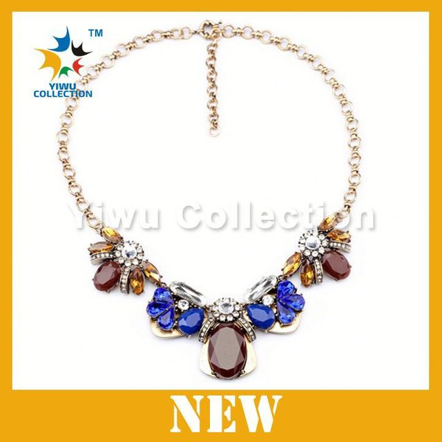 Manufacturer chain necklace in roll, fashion necklace with big beads, horn necklace