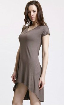 Women high/low hemline V neck plain dress