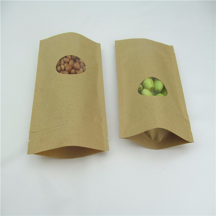 NO MOQ Online order wholesale packaging ziplock stand up brown food packaging with oval window kraft paper bag