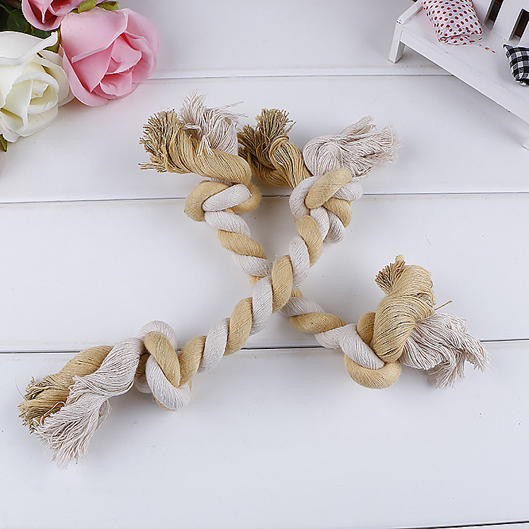 Hot Selling High Quality Pet Toy String Cotton Double Chew Rope Toy Unique WholesalePet toys for Dogs