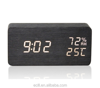 Thermometer hygrometer snooze wooden digital LED alarm table clock