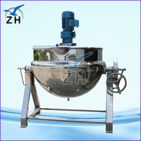 steam kettle manufacturers oil jacketed cooking pot jacketed mixing kettle with agitator and tilting