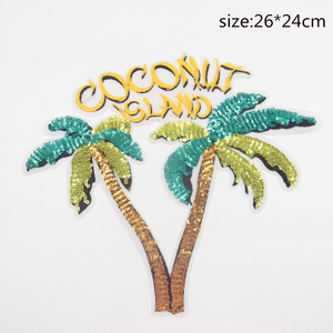 Colorful fashion sequins letters tree applique patch ,embroidered patch, sewing fabric applique customized patch for garments