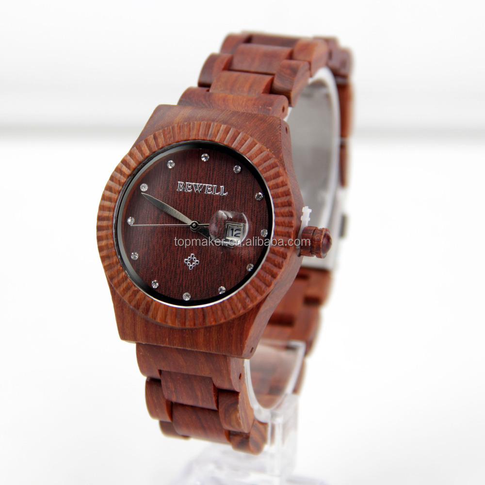 Professional Technique Custom Logo OEM Wooden Watch Women Sandalwood