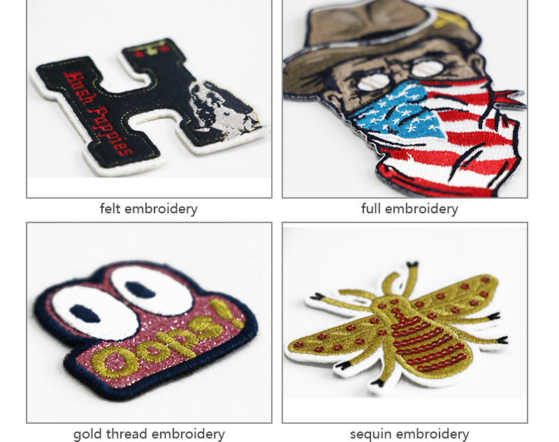 China Fornecedor 3d Lantejoula Patch Bordado Patch de Ferro em Patches Bordados de Lantejoulas Personalizado