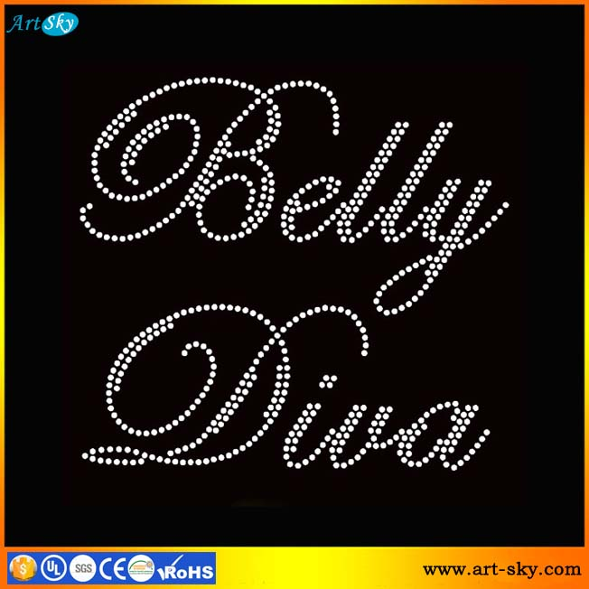 Artsky online free design beads Transfer Belly Diva text iron on patches
