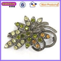 Big green flower bulk rhinestone brooch pin for chair sash #5229