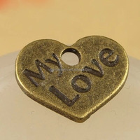 fashion My love engraving Antique bronze pendant Charm DPC011