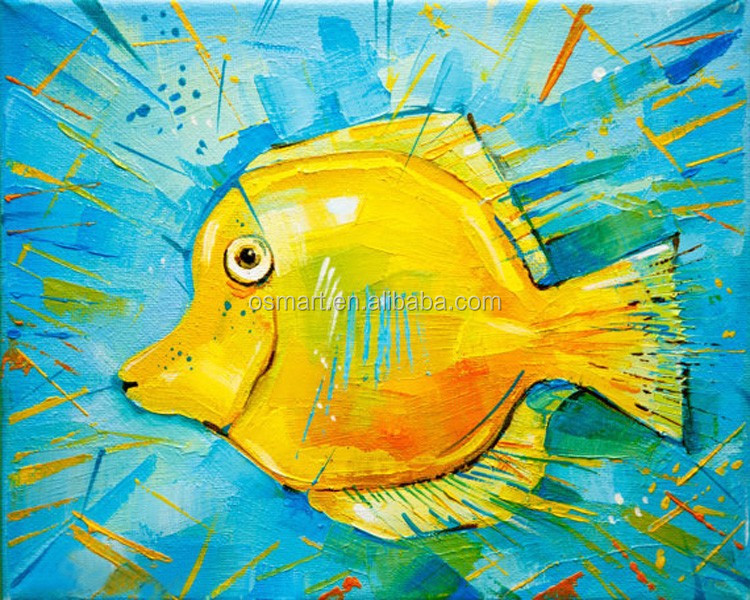 Funny Animal Fish Oil Painting On Canvas Yellow Color Fish For Wall Decoration Cartoon Animal Oil Painting For Kids Room Decor