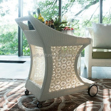 Hotel Rattan wicker Serving Trolley Cart