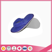 coral fleece blue color flip flop 2016 cheap hotel and indoor slippers