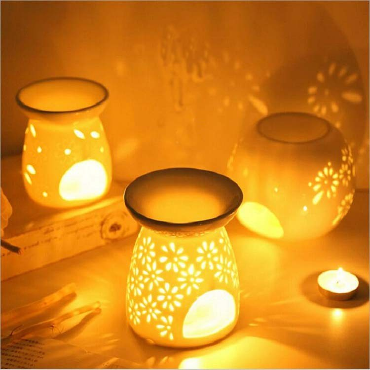 Ceramic Soul aroma fragrance essential oil tea light lamp tart warmer with owl image oil burner candle night light