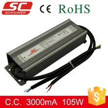 0-10v 105W 3000mA constant current dimmable waterproof high voltage transformer