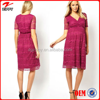 Elegant V-neckline Maternity Lace Midi Dress Maternity clothing wholesale