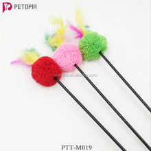 Kitten Pet TICKLER Teaser Feather Interactive Fun Toy Wire Chaser Wand For Cat