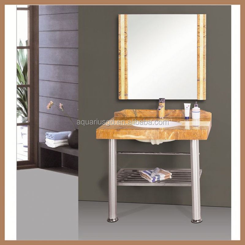 AQUARIUS V-15079 red oak slim fossil marble modern mirror bathroom vanity unit