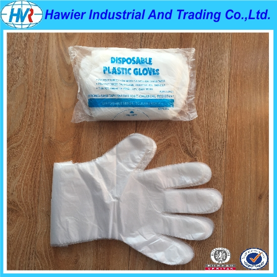 Transparent waterproof disposable HDPE gloves from Hawier