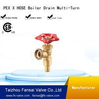 "High quality lead free cSA cUPC multi-turn handwheel PEX* hose boiler drain forged 1/2"" brass stop valve"